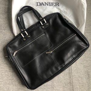 New Danier soft black leather briefcase unisex bag